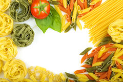 Overhead Italian pasta background Royalty Free Stock Images