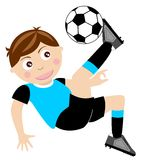 Overhead kick Kid Football. Illustration of a football player isolated who is executing an overhead kick. You can find different kids or children playing sports Stock Photography