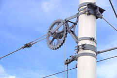 Overhead line of railway tracks Royalty Free Stock Photography