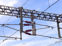 Overhead line of railway tracks Stock Photos