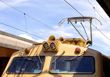 Overhead line of railway tracks Royalty Free Stock Photo