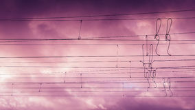 Overhead Lines at sunset Royalty Free Stock Images