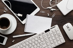 Overhead of messy office table Stock Image