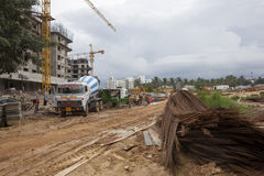 Overhead metro construction in Bangalore Stock Images