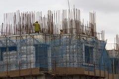 Overhead metro construction in Bangalore Stock Photo