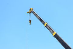 Overhead mobile crane boom use for lift equipment or material Stock Photo