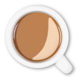 Overhead mug of coffee isolated clipping path. Stock Image