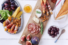 Overhead Of Charcuterie Platter Board Stock Photography