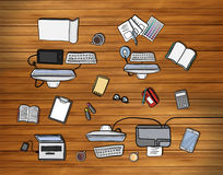 Overhead of office desks vector Stock Photography
