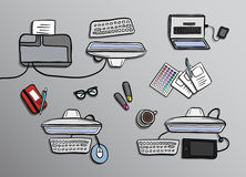 Overhead of office desks vector Stock Photo