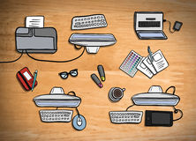 Overhead of office desks vector Stock Photos