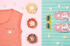 Overhead outfit fashion essentials set, flowers. Overhead outfit Fashion girl clothes set, accessories. Creative hipster look, pastel colors. Stylish gumshoes, t Stock Image