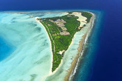 Overhead of Palm Beach Resort, Maldives Island Stock Image