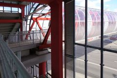 Overhead passage. Bolted steel beams. Painted in red. Interior.  royalty free stock photography