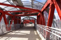 Overhead passage. Bolted steel beams. Painted in red. Interior.  stock photo