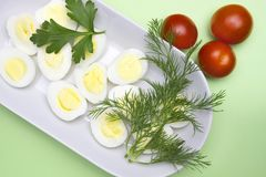 Overhead photo of vegetable salad with boiled quail egg, dill, fresh tomato and lettuce on white porcelain plate. A served salad p stock photography