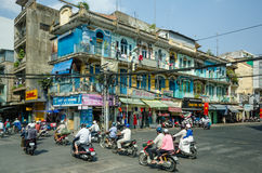 Overhead power cables pose a threat to the residents of Saigon Royalty Free Stock Images
