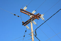 Overhead power lines Royalty Free Stock Image