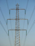 Overhead power lines. With blue skies in the background Royalty Free Stock Photos