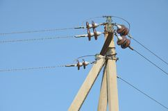 Overhead power lines at the electric support Royalty Free Stock Images