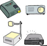 Overhead Projectors. Various overhead and digital projectors over white background Royalty Free Stock Photo