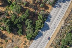Overhead of Red Car on Road Royalty Free Stock Photos