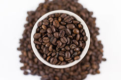 Overhead Roasted Coffee Beans in a Cup Stock Photography
