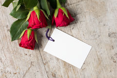 Overhead of Roses with Blank Card for Valentines Mothers` Day Royalty Free Stock Images