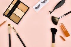 Overhead set, fashion woman essentials cosmetics Stock Images