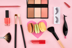 Overhead set, fashion woman essentials cosmetics Royalty Free Stock Photo