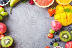 Fresh assorted fruits and berries Royalty Free Stock Photos