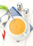 Overhead shoot of spicy vegetable soup with chili Royalty Free Stock Photo
