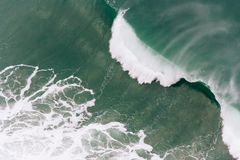 Overhead shot of the beautiful sea waves at the coast royalty free stock photography
