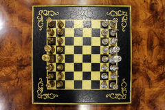 Overhead shot of a Chess Board with Chess Pieces Lined Up Royalty Free Stock Photos