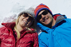 Overhead Shot Of Couple Having Fun On Winter Holiday Stock Photography