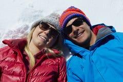 Overhead Shot Of Couple Having Fun On Winter Holiday Stock Image