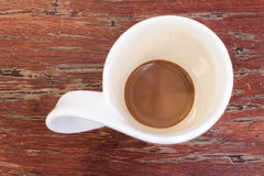Overhead shot of cup of coffee Stock Images