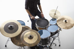 Overhead Shot Of Drummer Playing Drum Kit In Studio Stock Photography
