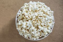 Overhead shot of freshly made popcorn. Delicious snack, perfect with watching movies Stock Image