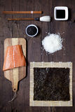 Overhead shot of ingredients for sushi on table Royalty Free Stock Image