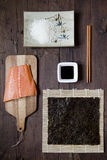 Overhead shot of ingredients for sushi on table Royalty Free Stock Images