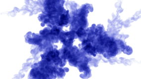 Overhead shot of a isolated blue ink on white. Blue ink in water and move in slow motion. Use for inky background or stock video