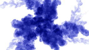 Overhead shot of a isolated drop of blue ink on white. Blue ink drops in water and move in slow motion. Use for inky stock footage