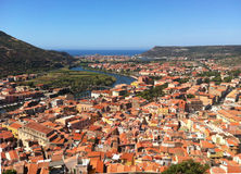 Overhead shot of Italian town. Overhead shot showing terracotta rooves of the small italian town of Bosa, Sardinia, Italy Stock Photography
