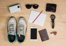 Overhead shot of men stuff Stock Image