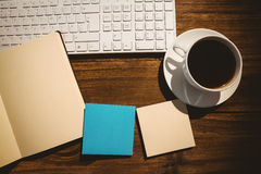 Free Overhead Shot Of Post Its And Cup Of Coffee Royalty Free Stock Photos - 54259658