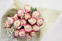 Overhead Shot of Pink and White Roses. Beautiful bouquet of  red and white roses with baby`s breath shot from above. Selective focus on tips of roses with Royalty Free Stock Photos