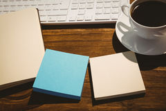 Overhead shot of post its Stock Images