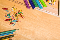 Overhead shot of pupils desk Royalty Free Stock Image