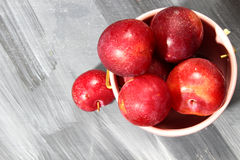 Overhead shot of Red Cherry plums Royalty Free Stock Image